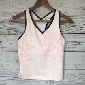 Adidas Cropped Athletic Tank Top Pink Black Accent